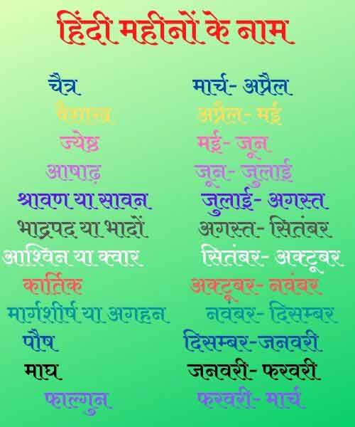 12 months name in hindi